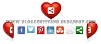 Social Media Heart Slide Opening Widget