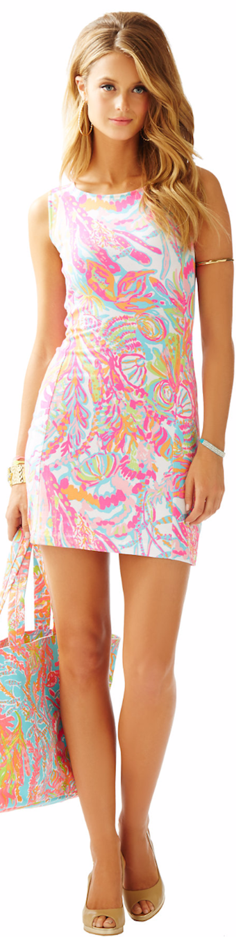 LILLY PULITZER WHITING CUT-OUT SHIFT DRESS RESORT WHITE SCUBA