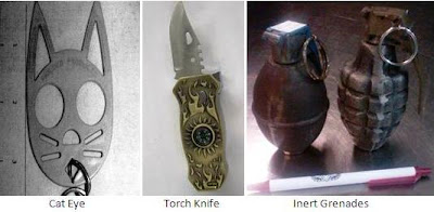 Cat Eye, Knife, Inert Grenades