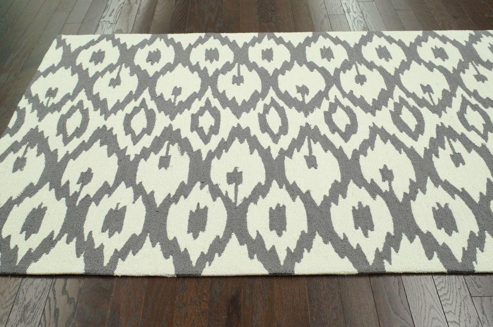 ikat soft grey rug