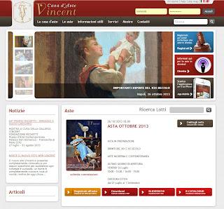 screen shot del sito di Vincent Casa d'Aste