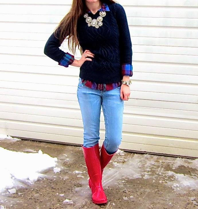 Snowy Bright Rain Boots