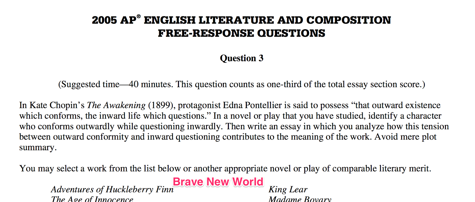 Ap literature exam 2002 form b sample essay