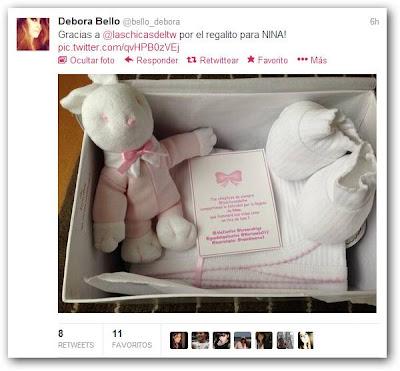 Tweet de Débora Bello sobre Nina