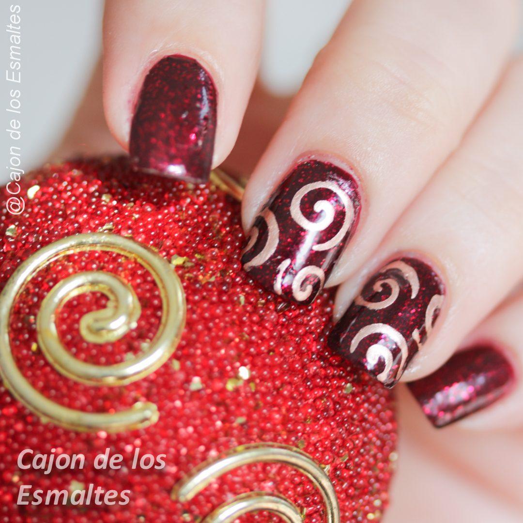 Decoracion de navidad sencilla con stencils o plantillas para uñas ...