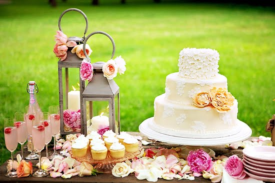 Party With A KTHE BLOG Beautiful Flowery Wedding Dessert Table