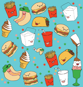 Junk Food collage cartoon