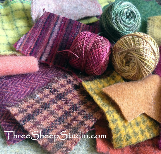 Wool and Perle Cotton - ThreeSheepStudio.com
