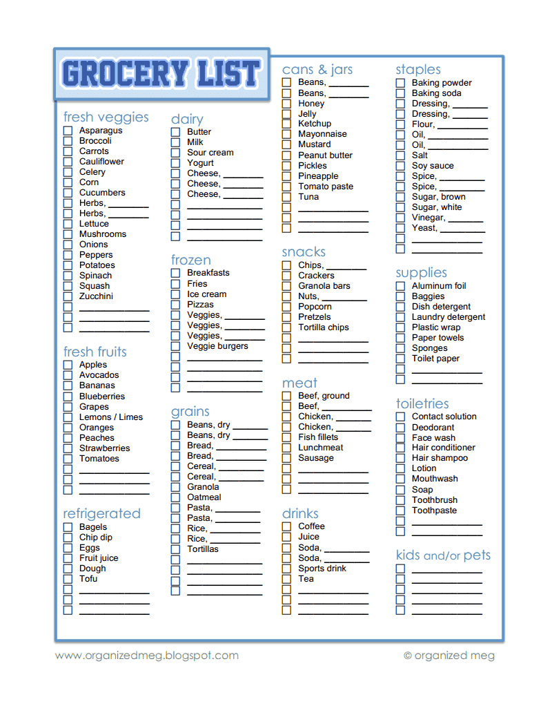 It's just a photo of Bright Grocery List Printable