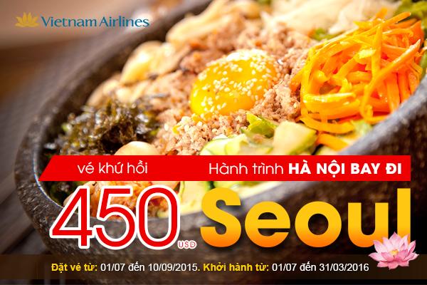 Vé máy bay đi Hàn Quốc khứ hồi từ Hà Nội giá chỉ 450 USD của Vietnam Airlines