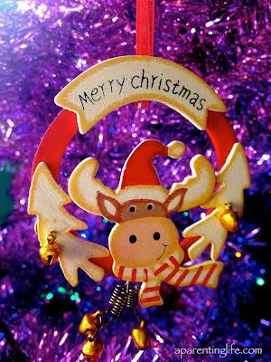 Christmas reindeer hanging tree ornament