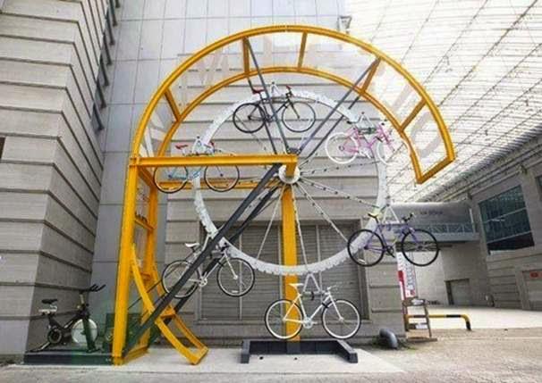 objetos de diseño, aparcamiento, bicicletas, mobiliario urbano