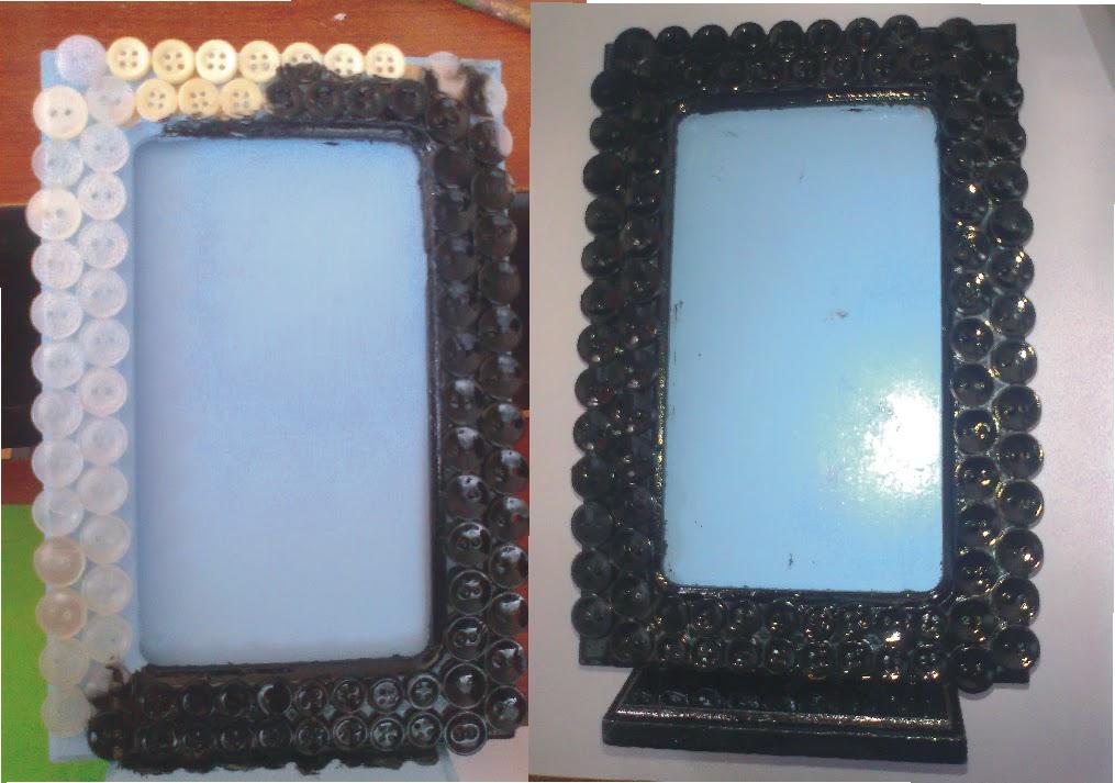 Reciclando cuadro reciclado arreglado con botones - Como hacer cuadros con botones ...