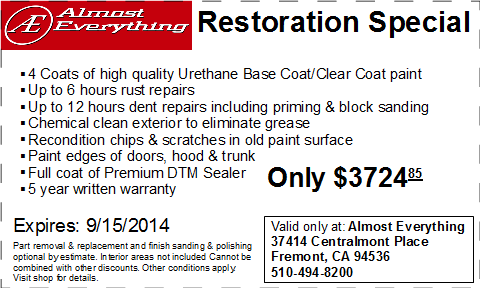Coupon Almost Everything Restoration Special August 2014