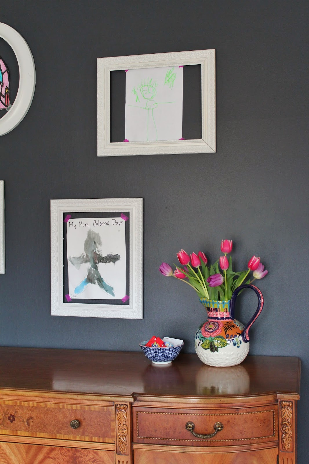 kids art gallery using dollar store frames