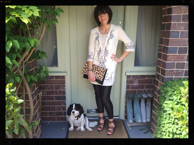 la Redoute Long Sleeved Dress With Embroidery and Studs My Midlife Fashion, Leather Leggings, Sandals, Leopard Print, Animal Print, Zara