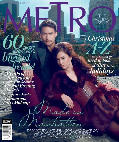 Sam Milby, Bea Soriano on the Cover of Metro Magazine December 2012 Issue