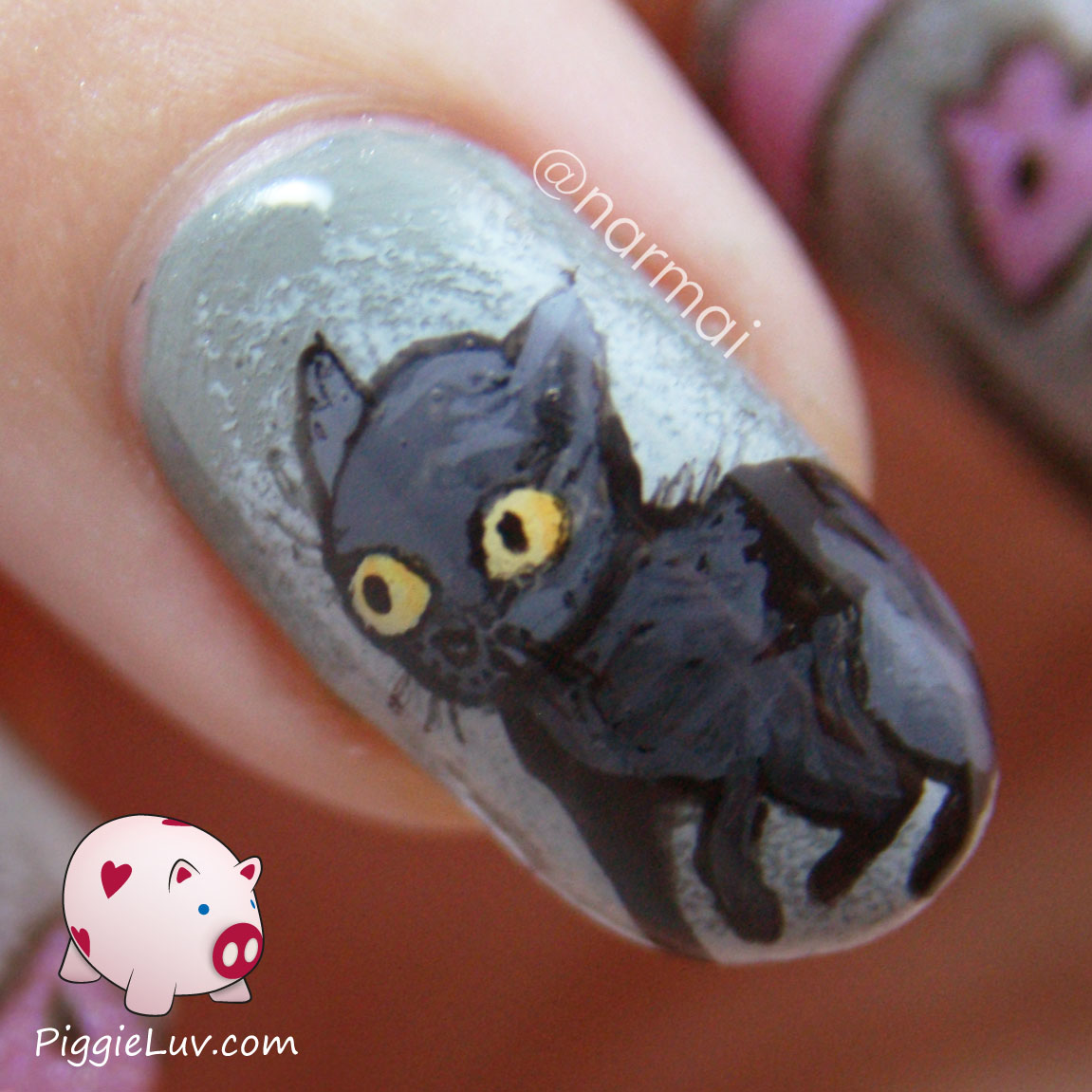 ... cat's nightmare - glow in the dark nail art with Gothic Gala Lacquers
