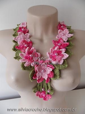 colar, colar de croche, flor de croche, colar de flores, colar de flores de croche, colar rosa, colar feminino,