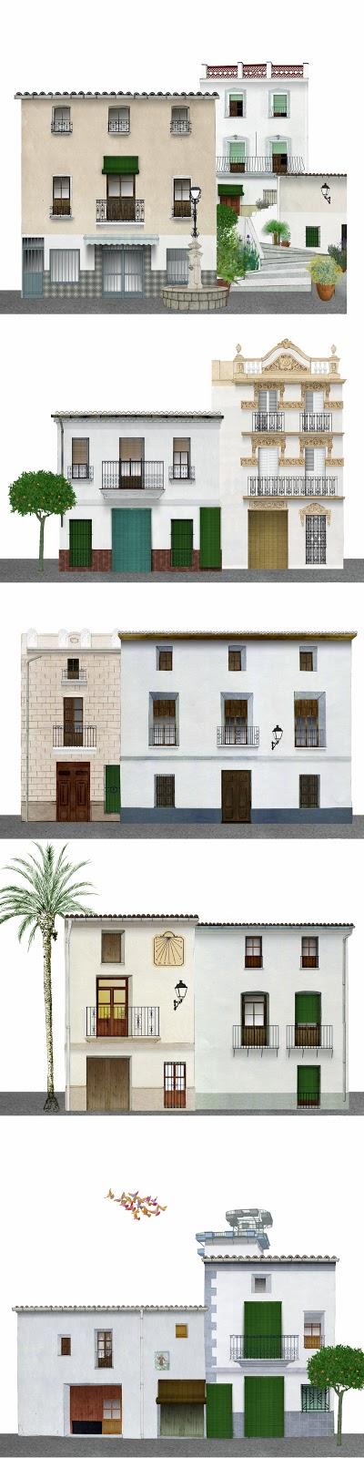 fachadas, arquitectura, Vall de Albaida, dibujo