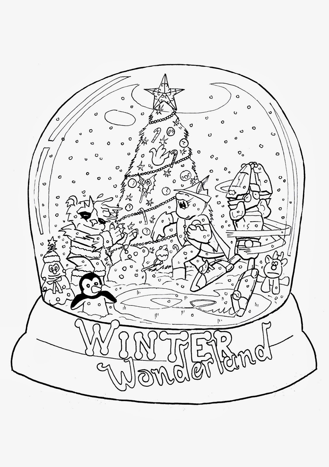 Christmas snow globes coloring pages sketch coloring page for Snow color pages