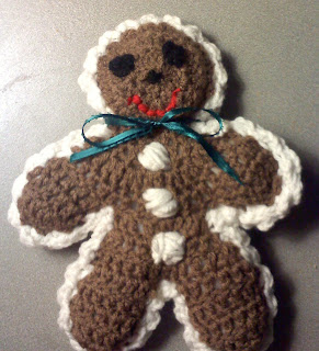 Shades of Safhire - crocheted gingerbread man