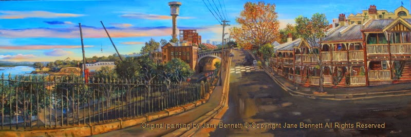 Plein air oil painting by Industrial Heritage Artist Jane Bennett of Millers Point Barangaroo and the Harbour Tower from High st
