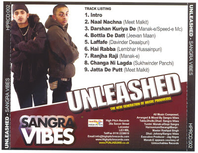 Unleashed - Sangra Vibes back cover mp3 download