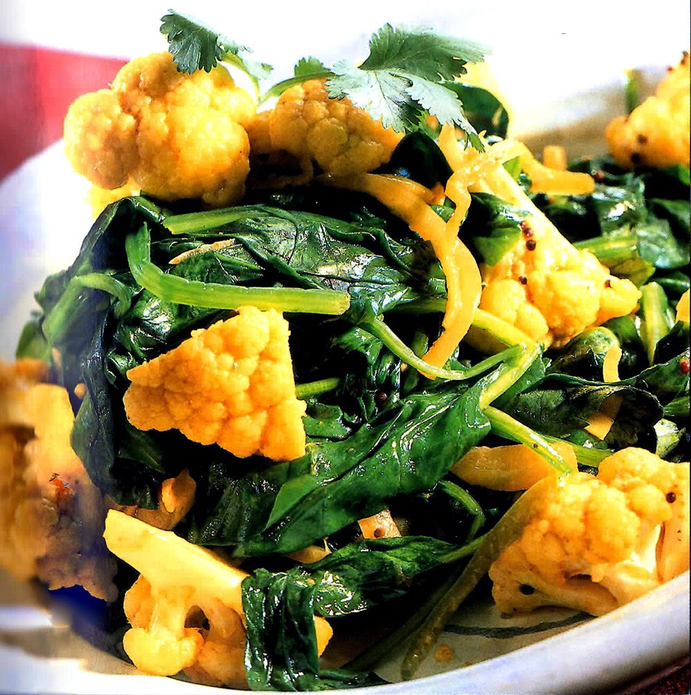 Curried Cauliflower and Spinach: A dish of cauliflower and spinach in a lightly-curried vegetable stock base. A versatile dish that can be served as a starter, an accompaniment or even as a vegetarian main course.