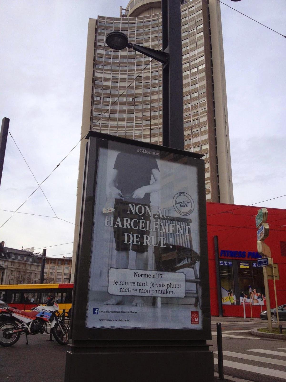 Campagne d'affichage stop harcèlement de rue Mulhouse