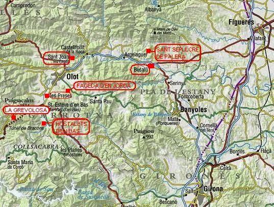 Mapa de la Garrotxa fagedes