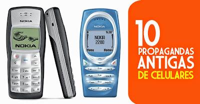 Seleção com dez propagandas antigas de telefones celular dos anos 90 e 2000.