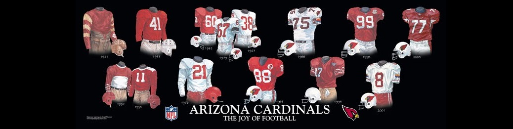 The uniforms and helmets of the Chicago, St. Louis, Phoenix, and Arizona Cardinals...