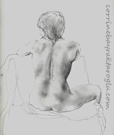 graphite drawing of model's back