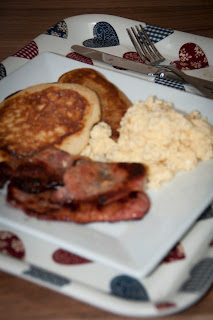 American pancakes scrambled egg and bacon