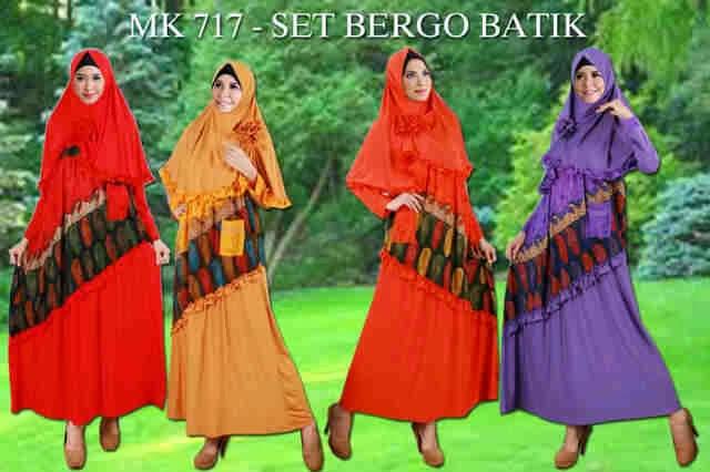 Set Bergo Batik - Gamis Syar'i Bahan Spandex Korea kombinasi Katun