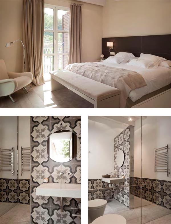 masía de piedra rehabilitada con buen gusto-dormitorio con cortinas y baño con baldosas hidraulicas