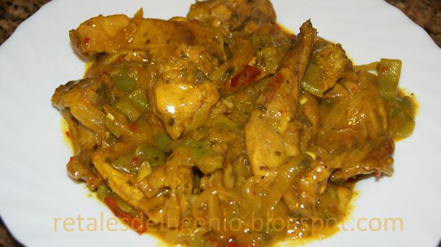Conejo con verduras al curry