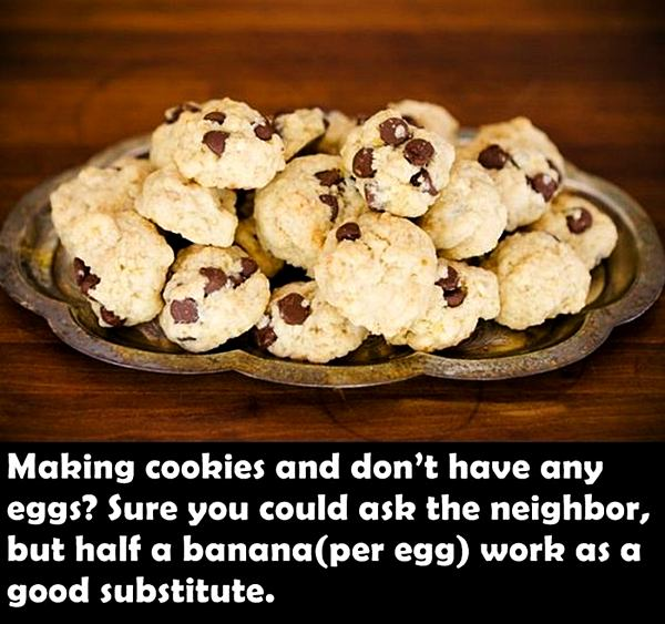 Making cookies and don't have any eggs? Sure you could ask the neighbor, but half a banana (per egg) work as a good substitute.