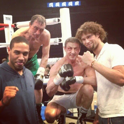 Robert de Niro and Sylvester Stallone on the set of Grudge Match