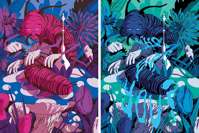 """Caterpillar"" Alice In Wonderland Screen Print Standard & Variant Editions by Johnny Dombrowski"