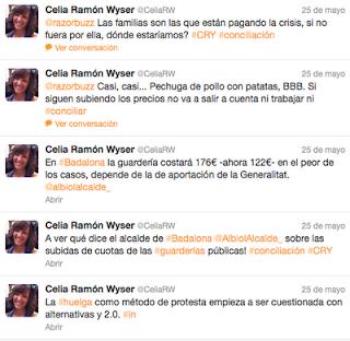 Conversación en Twitter sobre la subida de tarifas de las guarderías públicas en Badalona