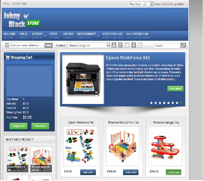 Johny Blackstore Template - Theme bán hàng cho Blogsspot
