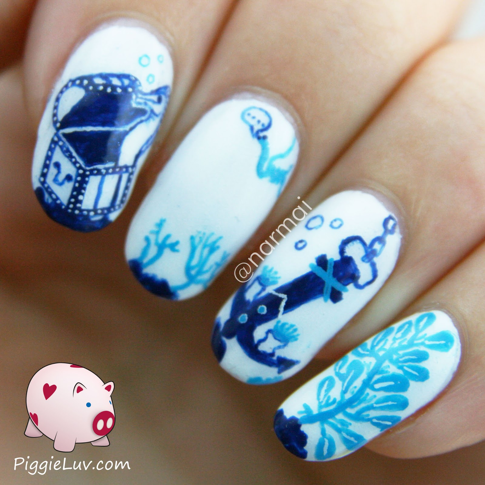 PiggieLuv: Deep blue sea nail art (glow in the dark!)