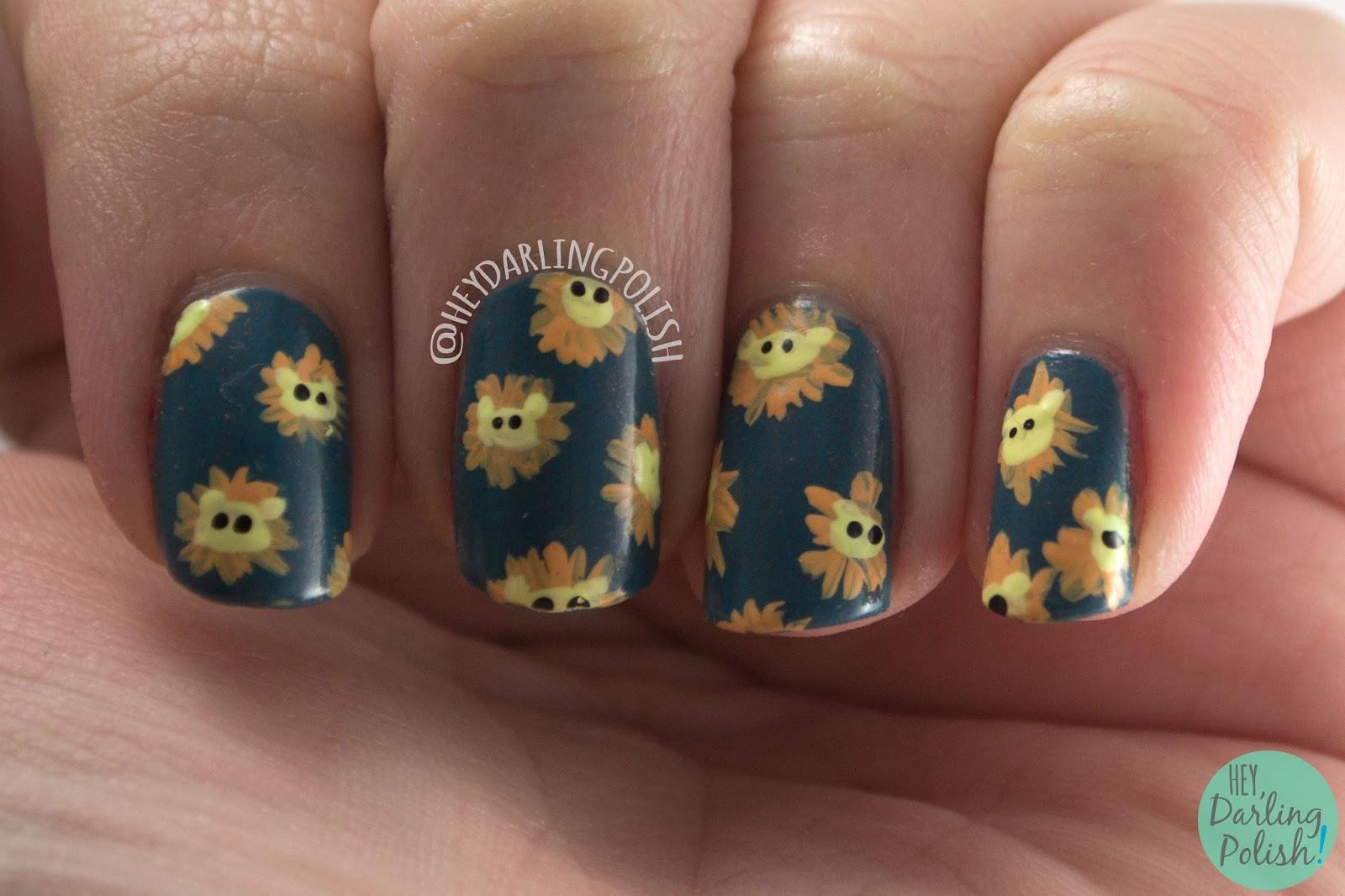 nails, nail art, nail polish, hey darling polish, pahlish, indie polish, lions, the nail challenge collaborative, animals, hey darling polish