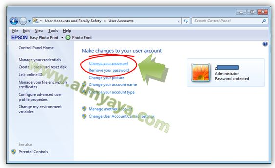 Gambar: Mengganti password windows
