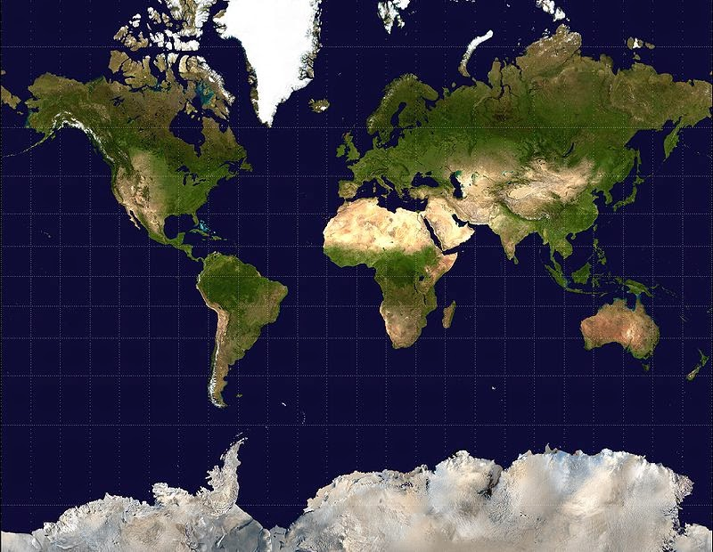 Planisferio de la tierra,  Proyección de Mercator