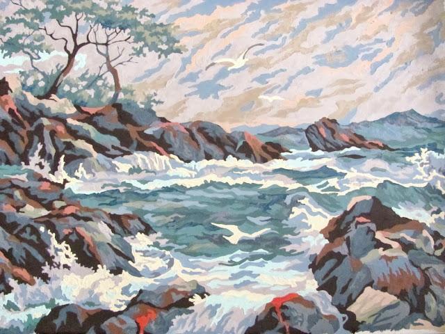 Ocean view violent waves painting