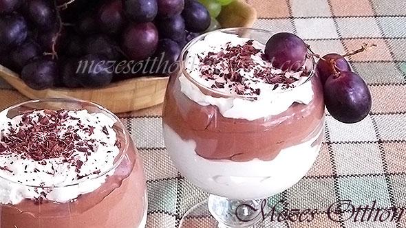 vörösboros csokoládés pohárkrém