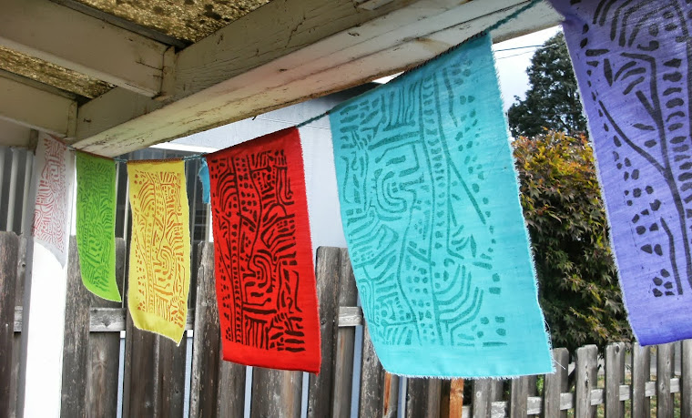 Mazama Lines- Reclaimed Indigenous Symbols.  Prayer Flags